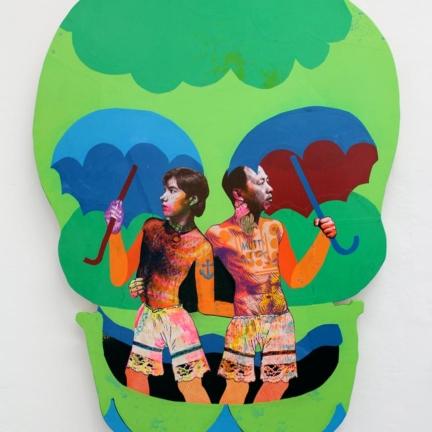 Various & Gould: Duality III, Berlin 2012, Siebdruck- und Papier-Collage auf Holz, ca. 141 x 100 cm
