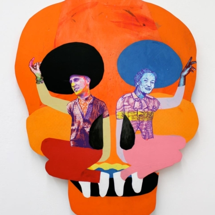Various & Gould: Duality I, Berlin 2012, screen print and paper collage on wood, ca. 128 x 102 cm