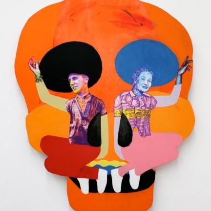 Various & Gould: Duality I, Berlin 2012, Siebdruck- und Papier-Collage auf Holz, ca. 128 x 102 cm