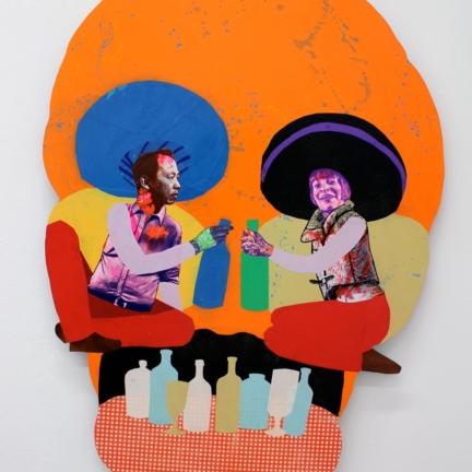 Various & Gould: Duality II, Berlin 2012, Siebdruck- und Papier-Collage auf Holz, ca. 145 x 102 cm