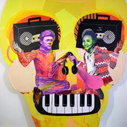 Various & Gould: Duality VI, Berlin 2015, Siebdruck- und Papier-Collage auf Holz