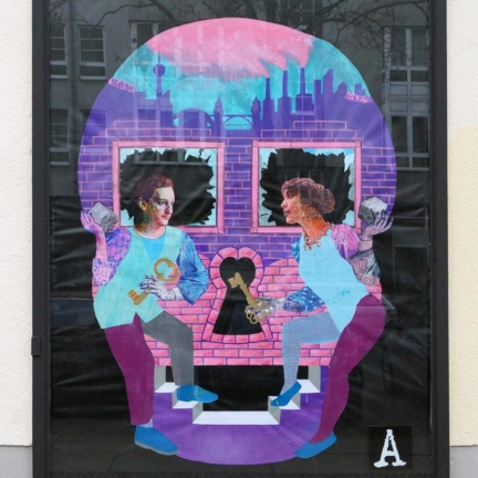Various & Gould: Duality @ Project M/3 / Urban Nation, Berlin 2014, acrylic, screen print and paper collage on canvas, 280 x 216 cm