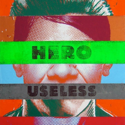 Various & Gould: Identikit (Hero Useless), Berlin 2008, acrylic and screen print on sewed canvas, 83 x 64 cm