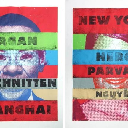 Various & Gould: Identikit (Pagan Beschnitten Shanghai), Berlin 2012, Siebdruck auf zusammengeklebtem Papier, Vorder- und Rückseite