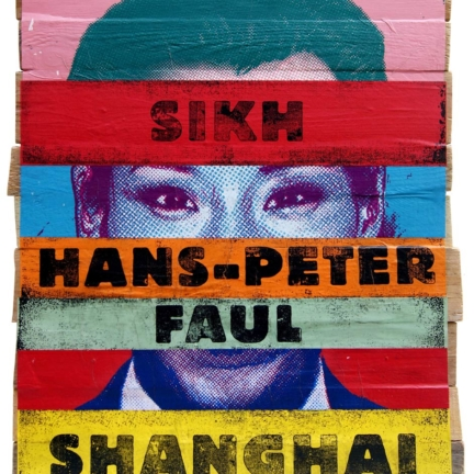 Various & Gould: Identikit (Sikh Hans-Peter Faul Shanghai), Berlin 2009, screen print collage on wood, ca. 89 cm x 68 cm