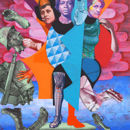 Various & Gould: Heroes, Berlin 2017, silkscreen collage, paper and acrylic on wood, ca. 108 x 83,5 cm
