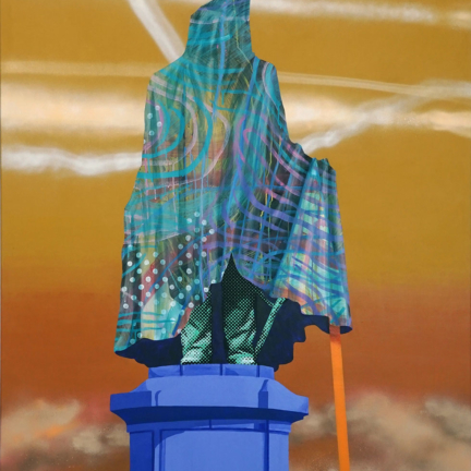 Various & Gould: Reflection on Monuments – Bismarck Berlin, Berlin 2019, acrylic, aerosol and screen print on canvas, 200 x 140 cm