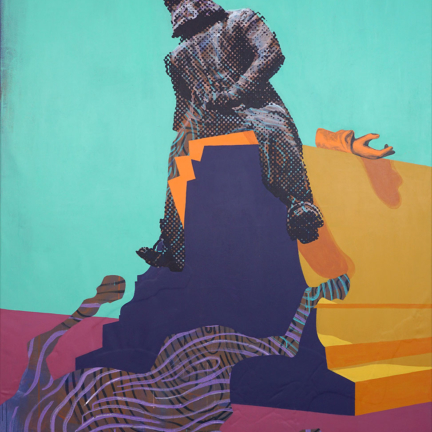 Various & Gould: Reflection on Monuments – Leopold II., Berlin 2019, acrylic, aerosol and screen print on canvas, 200 x 140 cm