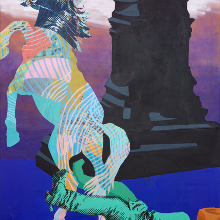 Various & Gould: Reflection on Monuments – Robert E. Lee, Berlin 2019, acrylic, aerosol and screen print on canvas, 200 x 140 cm
