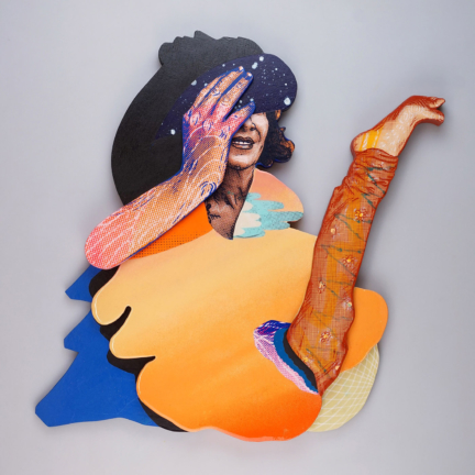 Various & Gould: Body Shaming, Berlin 2020, silkscreen collage, paper, acrylic, aerosol and epoxy on wood, ca. 57 x 57 cm