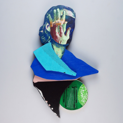 Various & Gould: Shame of Light, Berlin 2020, silkscreen collage, paper, acrylic, epoxy and brass on wood, ca. 43 x 27 cm