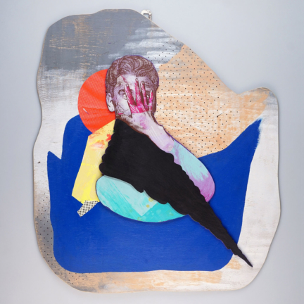 Various & Gould: Shame Storm, Berlin 2020, silkscreen collage, paper and acrylic on wood, ca. 60 x 52 cm