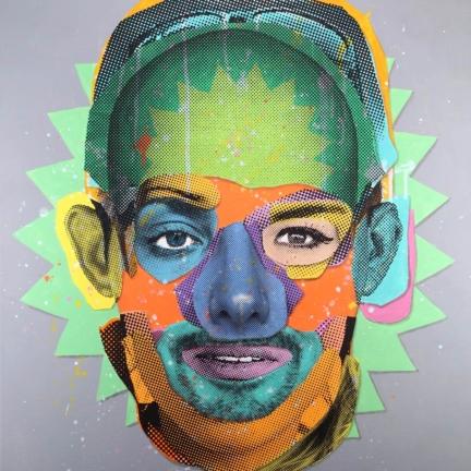 Various & Gould: Face Time (Canvas 08), Berlin 2015, Acryl und Siebdruck auf Leinwand, 85 x 65 cm