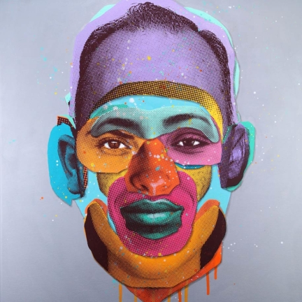 Various & Gould: Face Time (Canvas 09), Berlin 2015, Acryl und Siebdruck auf Leinwand, 85 x 65 cm