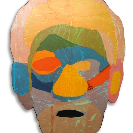 Various & Gould: Face Time (Cutout 05), Berlin 2015, Papier-Collage auf Holz, ca. 92 x 67 cm