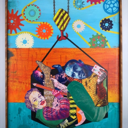 Various & Gould: Mrs. Dangling & Joe – Killing Hours, Berlin 2010, acrylic, screen print collage and laser engraving on wood, 100 x 70 cm