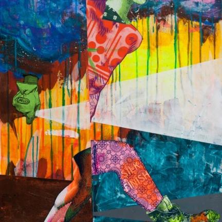 Various & Gould: Transfer, Berlin 2012, Acryl und Siebdruck-Collage auf Holz, 84 x 54 cm
