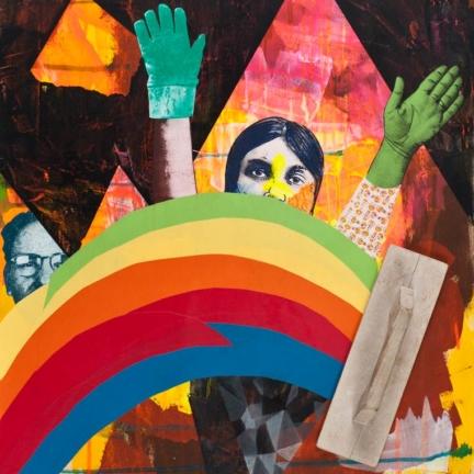 Various & Gould: Prisma, Berlin 2012, Acryl und Siebdruck-Collage auf Holz, 84 x 54 cm