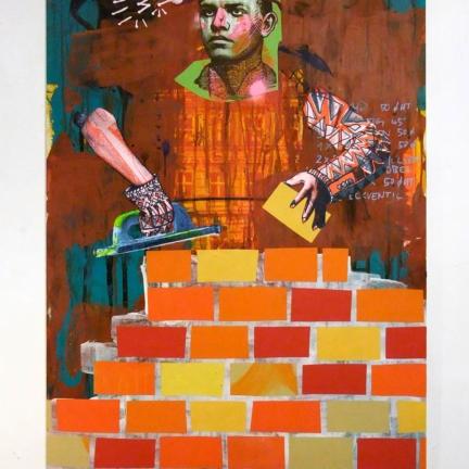 Various & Gould: Neustadt, Berlin 2012, Acryl, Siebdruck und Collage auf Holz, 83 x 55 cm