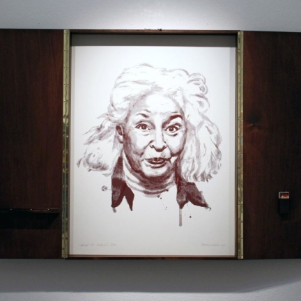 Various & Gould: Nawal El Saadawi @ 30works Gallery, Cologne 2014, framed phosphorus screen print, 82 x 62 cm (82 x 124 cm)