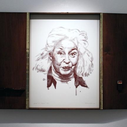 Various & Gould: Nawal El Saadawi @ 30works Galerie, Köln 2014, gerahmter Phosphor-Siebdruck, 82 x 62 cm (82 x 124 cm)