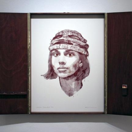 Various & Gould: Nadezhda Tolokonnikova @ 30works Galerie, Köln 2014, gerahmter Phosphor-Siebdruck, 82 x 62 cm (82 x 124 cm)