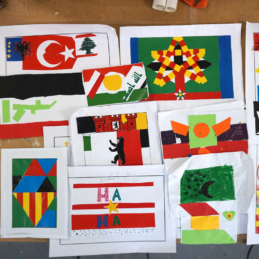 Fantasy flags (sketches), mural workshop – Refugee shelter Berlin-Hellersdorf / U5 / BENN