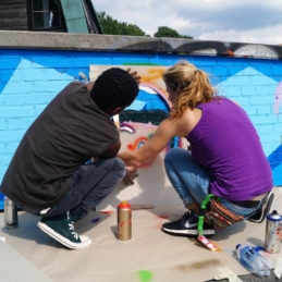 Street art workshop with refugees in collaboration with Millerntor Gallery, Viva con Agua and Hanseatic Help, Hamburg 2016