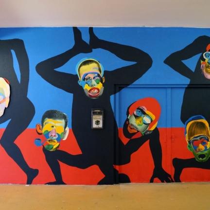 Face Dance, Hamburg 2016, Innen-Mural @ Millerntor Gallery #6 / Viva Viva con Agua