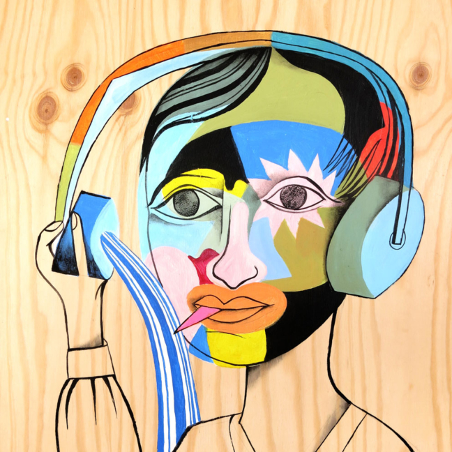 "Jim Avignon: ""Woman with headphones"", Berlin 2016"