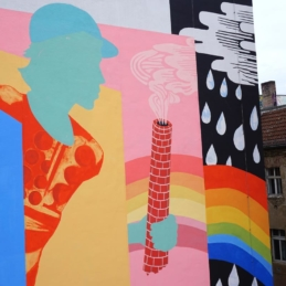 "Work in process, ""Dedicated to"", mural, Berlin 2017"