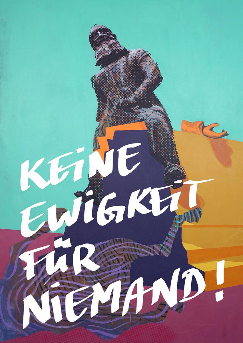"""Ausstellungsflyer: Various & Gould – """"Keine Macht für Niemand"""", Galerie Neurotitan, Berlin 2019"""